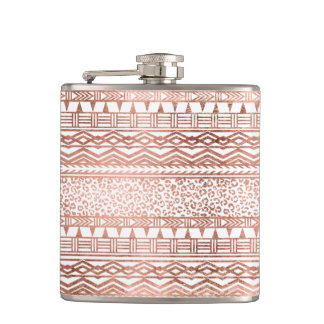 Modern rose gold geometric aztec leopard pattern hip flask