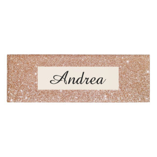 Modern Rose Gold Glitter Beauty Salon Employee Name Tag