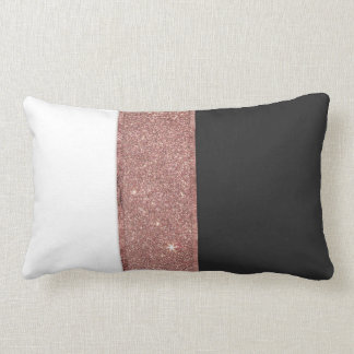 Modern Rose Gold Glitter Black White Color Blocks Lumbar Cushion