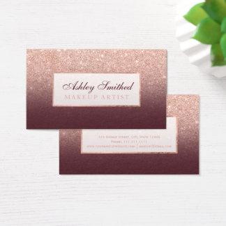 Modern rose gold glitter burgundy ombre makeup business card