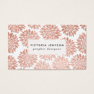 Modern rose gold glitter floral abstract geometric business card