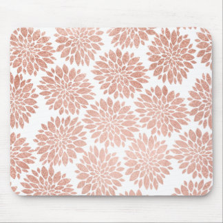 Modern rose gold glitter floral abstract geometric mouse pad