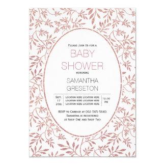 Modern rose gold glitter leaves trendy baby shower 13 cm x 18 cm invitation card