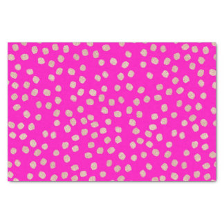 Modern rose gold glitter polka dots neon pink tissue paper