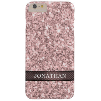 Modern Rose Gold Glitter White Sparks Barely There iPhone 6 Plus Case