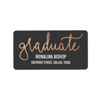 Modern Rose Gold Graduate Typography Label