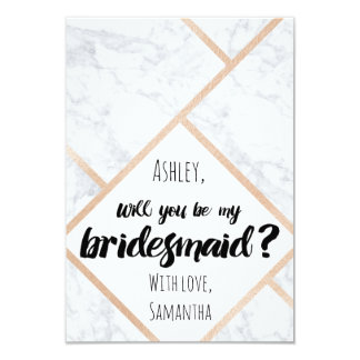 Modern rose gold marble color block my bridesmaid 9 cm x 13 cm invitation card