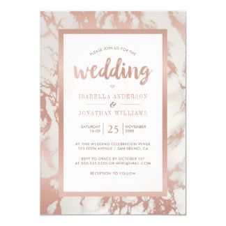 Modern Rose Gold Marble Wedding Card