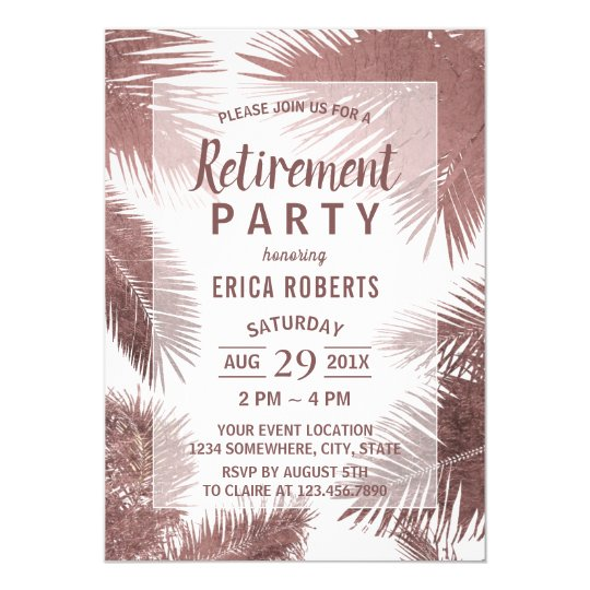 Modern Rose Gold Palm Tree Beach Retirement Card