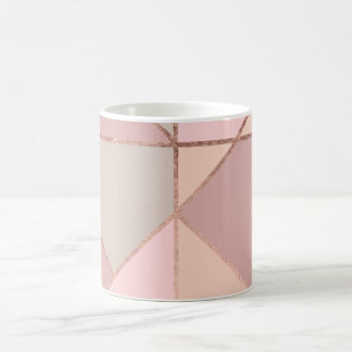 Modern rose gold peach tan blush color block coffee mug