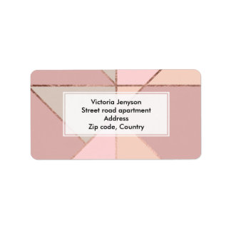 Modern rose gold peach tan blush color block label