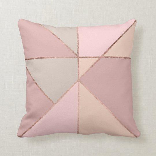 Modern rose gold peach tan blush colour block throw pillow
