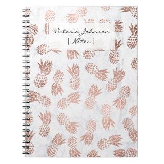 Modern rose gold pineapples pattern white marble notebooks