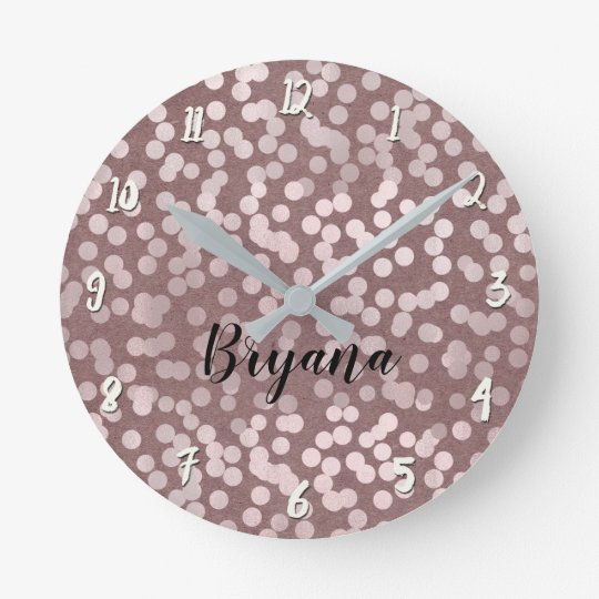 Modern Rose Gold Pink Confetti Dots Personalised Round Clock