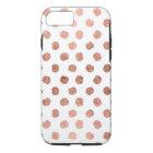 Modern rose gold polka dots brushstrokes pattern iPhone 8/7 case