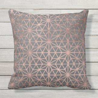 Modern rose gold stars geometric pattern christmas cushion