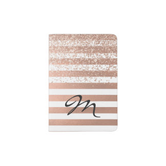 Modern Rose Gold Striped Passport Holder