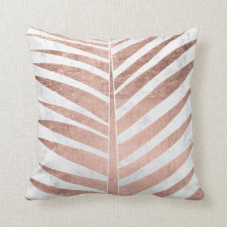 Modern rose gold tropical palm tree white marble cushion
