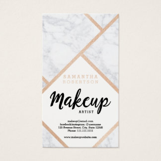 Modern rose gold white marble color block Makeup