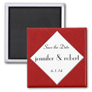 Modern Rose Graphic in Red Save the Date Magnet