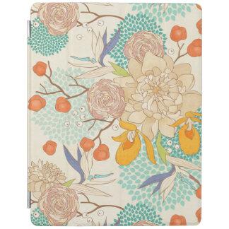 Modern Rose Peony Flower Pattern Apple iPad Cover