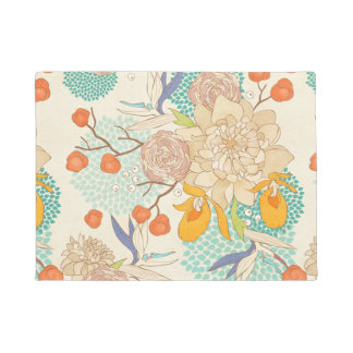 Modern Rose Peony Flower Pattern Doormat
