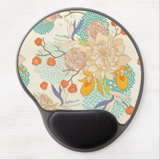Modern Rose Peony Flower Pattern Gel Mouse Pad