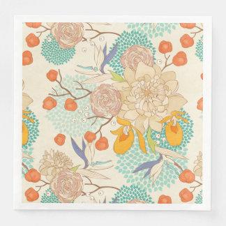 Modern Rose Peony Flower Pattern Paper Napkin