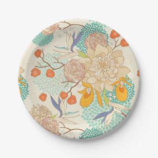 Modern Rose Peony Flower Pattern Paper Plate