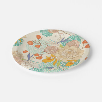 Modern Rose Peony Flower Pattern Paper Plate