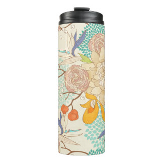 Modern Rose Peony Flower Pattern Thermal Tumbler