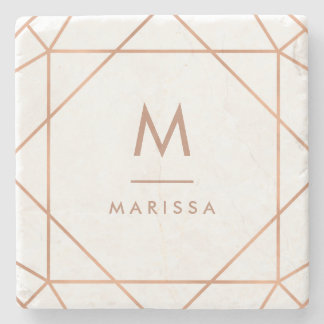 Modern Rose Pink Geometric Lines with Monogram Stone Beverage Coaster