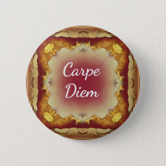 Modern Rose Yellow 'Carpe Diem' Artistic Pattern 6 Cm Round Badge