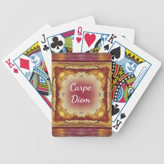 Modern Rose Yellow 'Carpe Diem' Artistic Pattern Bicycle Playing Cards