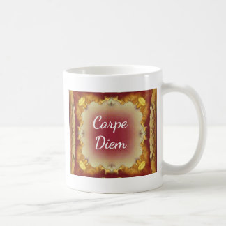 Modern Rose Yellow 'Carpe Diem' Artistic Pattern Coffee Mug