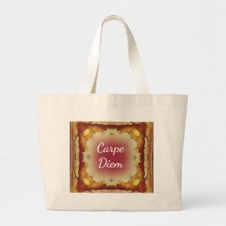Modern Rose Yellow 'Carpe Diem' Artistic Pattern Large Tote Bag