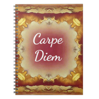 Modern Rose Yellow 'Carpe Diem' Artistic Pattern Spiral Notebook