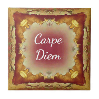Modern Rose Yellow 'Carpe Diem' Artistic Pattern Tile