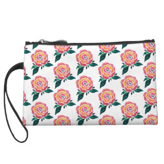 Modern Roses Stained Glass Watercolor Clutch Wristlet Clutch