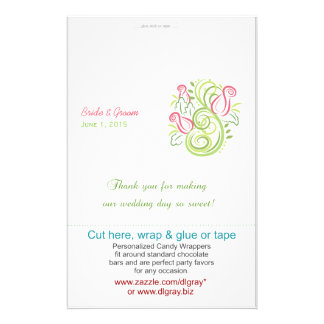 Modern Roses Wedding Candy Wrappers 14 Cm X 21.5 Cm Flyer