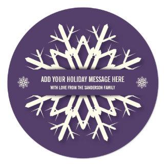 Modern Round Purple Snowflake Christmas Photo Card 13 Cm X 13 Cm Square Invitation Card