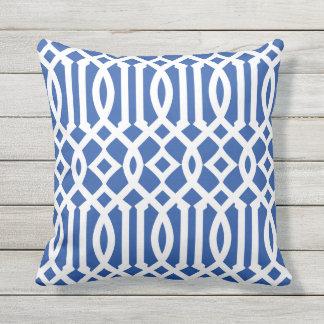 Modern Royal Blue and White Imperial Trellis Cushion