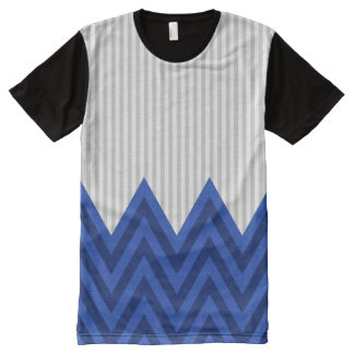 Modern Royal Blue Chevron Gray Stripes Pattern All-Over Print T-Shirt