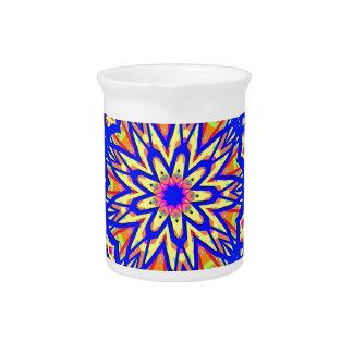 Modern Royal Blue Webbed Mandala Pattern Drink Pitcher