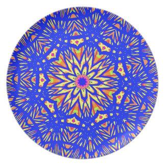 Modern Royal Blue Webbed Mandala Pattern Party Plate