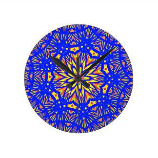 Modern Royal Blue Webbed Mandala Pattern Round Clock