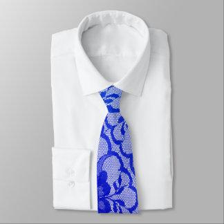 Modern Royal Cobalt Blue Sapphire Lace Tie