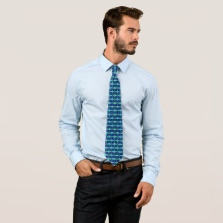 Modern Royal Houndstooth On Blue Satin Tie