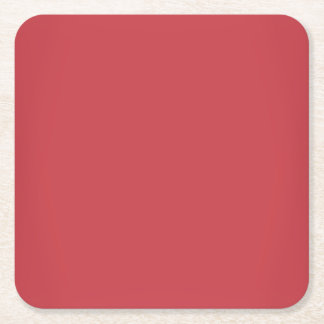Modern Ruby Red Customizable Square Paper Coaster