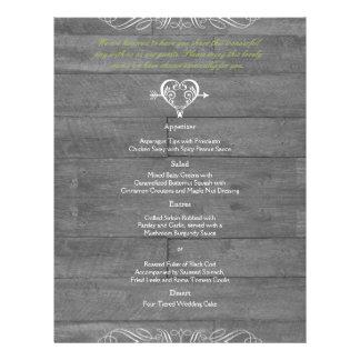 Modern Rustic Barn Wood Wedding Menu Flyer Design
